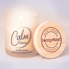 Load image into Gallery viewer, Calm by Hempvana Vanilla Dream Scented Candle