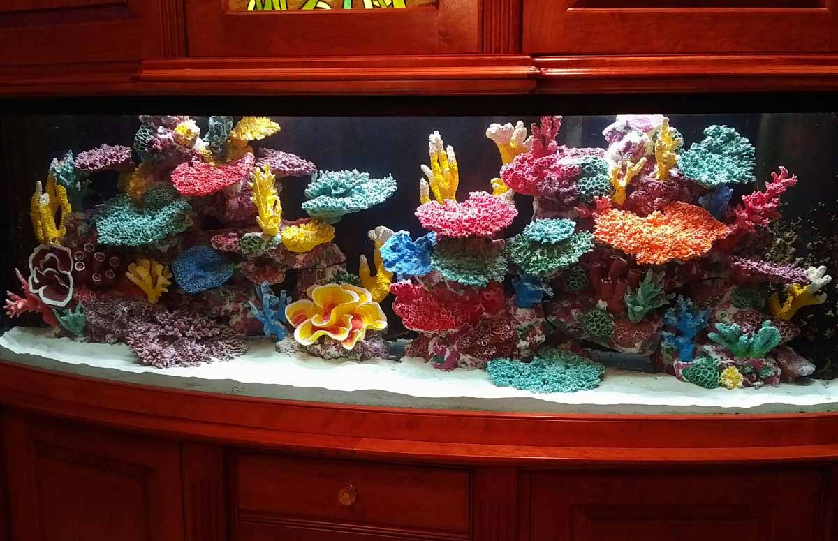 Colorful Living Aquariums with Instant Reef Tank Decorations
