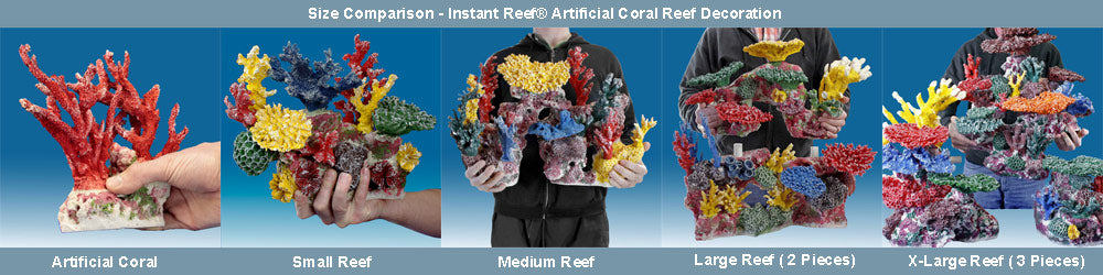 Instant Reef Artificial Fake Coral Reef Decoration Size Comparison