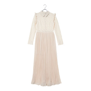 Lase + pleated dress