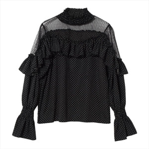 Dot pattern frills blouse
