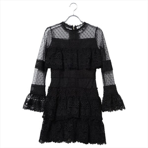 Lace mini length dress/black