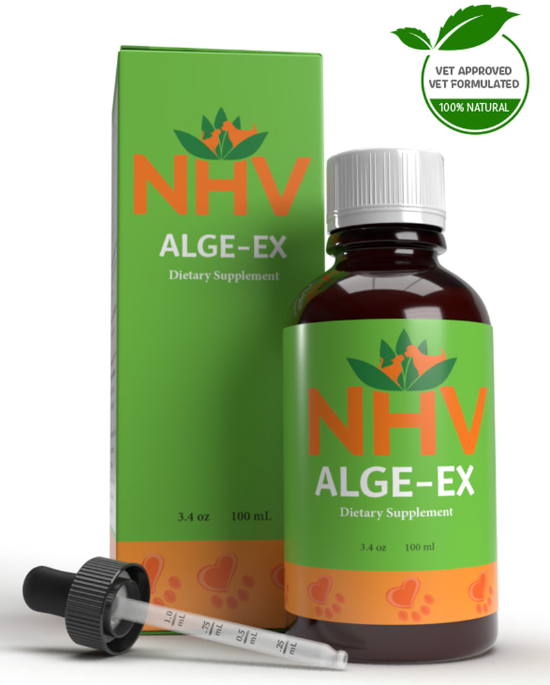 NHV Natural Pet Product Alge-Ex. Environmental and seasonal allergy support for cats and dogs.