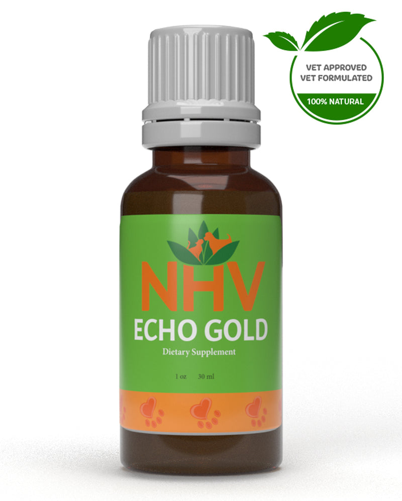 NHV Natural Pet Products. Echo Gold for cats and dogs. The best natural herbal ear drops for pet ear infections and pain.