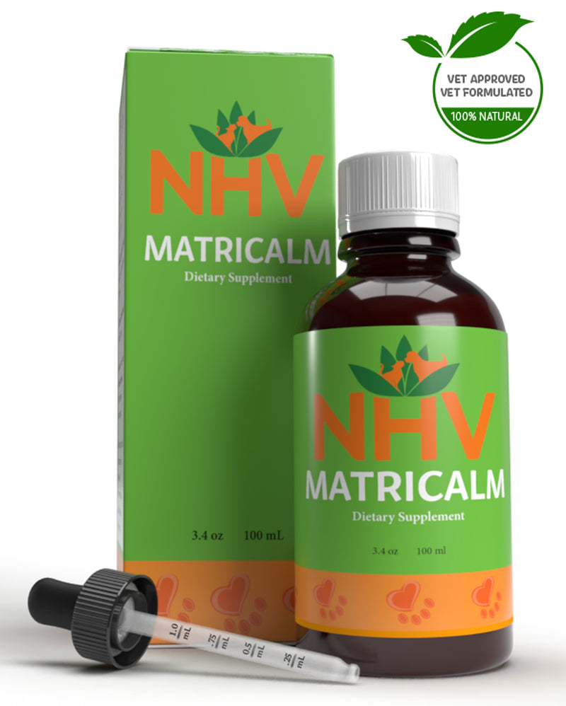 NHV Matricalm. Natural holistic help for stress reduction, anxiety relief, behavioural problems, and aggression in cats and dogs.