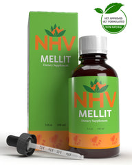 NHV Mellit Natural Pet Products for diabetes mellitus and pancreatitis, aids in circulation and supports healing in cats and dogs.