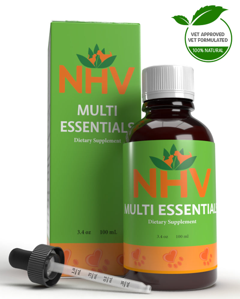 NHV Multi Essentials. NHV Natural Pet Products, holistic digestive aid, energy booster, and multivitamin for cats and dogs