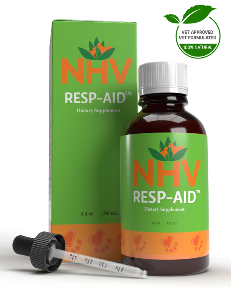 NHV Resp-Aid. Vet-Formulated natural remedy for respiratory infection in cats and dogs.