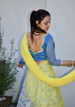 Load image into Gallery viewer, Light Blue Yellow - Gopi Skirt Lehenga