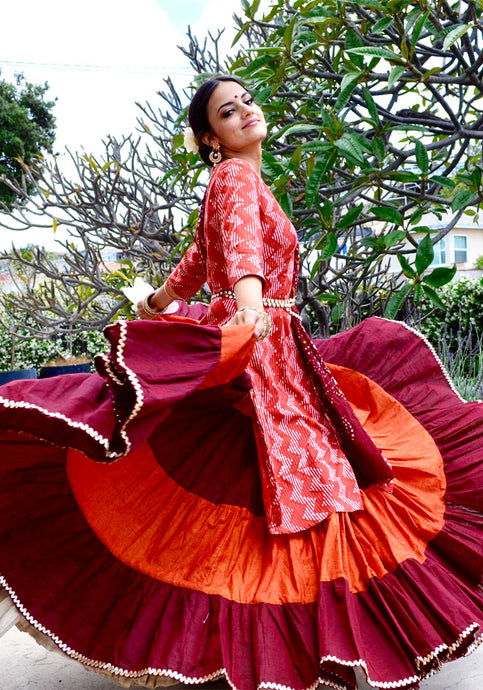 Full Orange Bloom - Gopi Skirt Lehenga SOLD