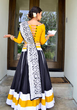 Load image into Gallery viewer, Black and Yellow - Gopi Skirt Lehenga SOLD