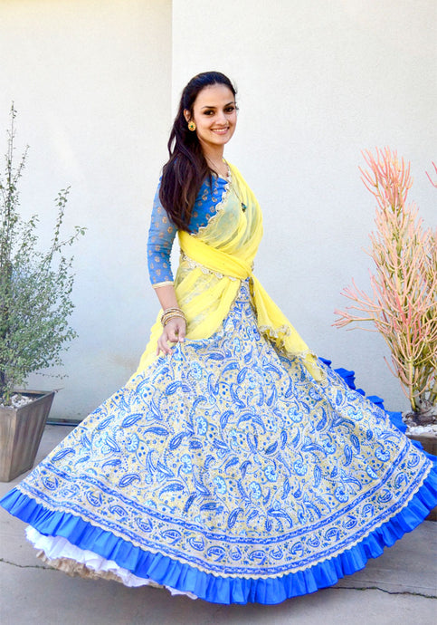 Light Blue Yellow - Gopi Skirt Lehenga