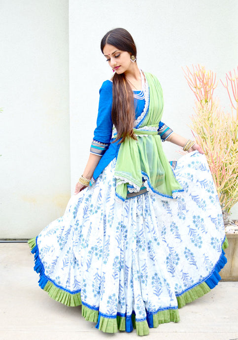 Jade and Aqua With Frills - Gopi Skirt Outfit RESERVED