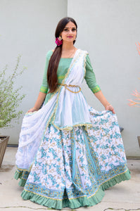 Teal Vines With Frills - Gopi Skirt Outfit