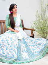 Load image into Gallery viewer, Teal Vines With Frills - Gopi Skirt Outfit