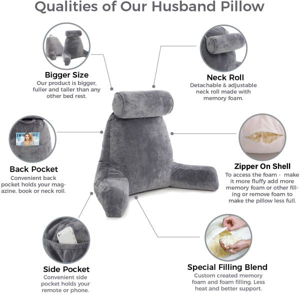 Bed Rest Pillow with Arms Features | Husband Pillow