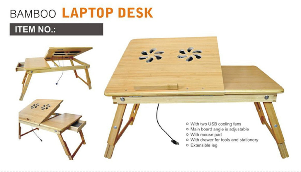 Bamboo Wood Laptop Desk - Multi-functional Laptop & Reading Stand with Internal Cooling Fan - Laptop Desk, Bamboo Wood