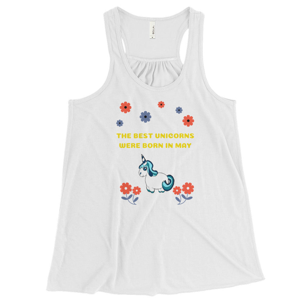 The Best Unicorns Were Born In May  Women's Flowy Racerback Tank - Peanutbutter's Closet