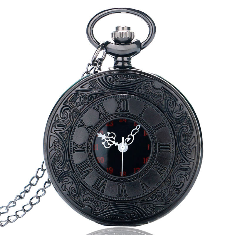 Awesome Vintage Charm Black Unisex Steampunk Pocket Watch Necklace Pendant with Chain
