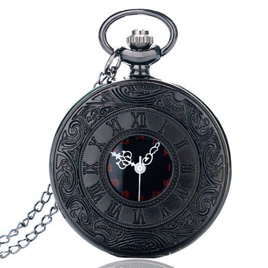 Awesome Vintage Charm Black Unisex Steampunk Pocket Watch Necklace Pendant with Chain - Peanutbutter's Closet