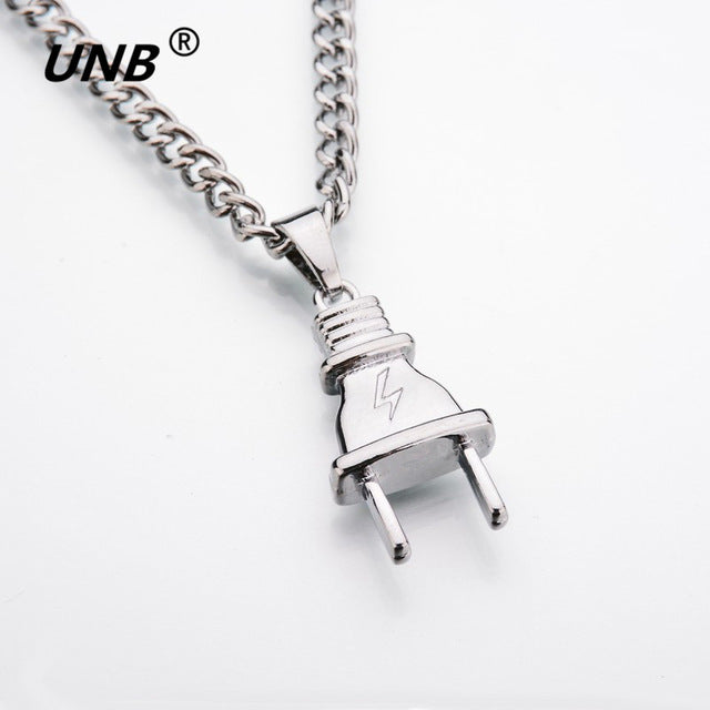 Electrical Plug Shape Pendants Necklaces