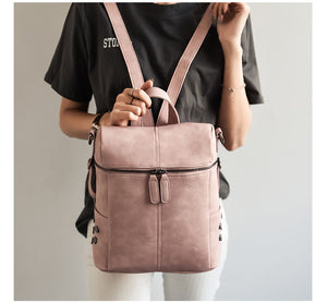 Simple Style Womens Leather Backpack - Peanutbutter's Closet