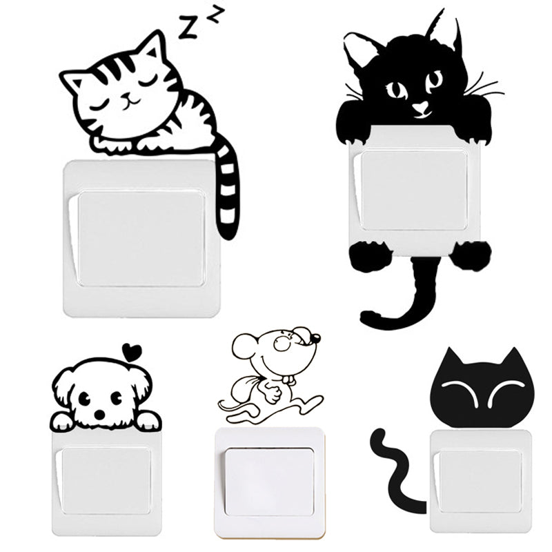 DIY Funny Cute Black Cat Dog Rat Mouse Switch Decal Wall Stickers