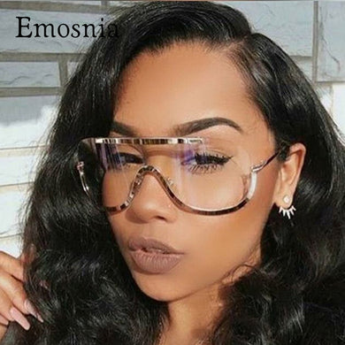 Emosnia Rimless Gold  Aviator Oversized Clear Sunglasses - Peanutbutter's Closet