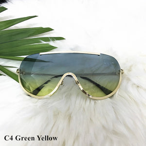 Emosnia Rimless Gold  Aviator Oversized Clear Sunglasses
