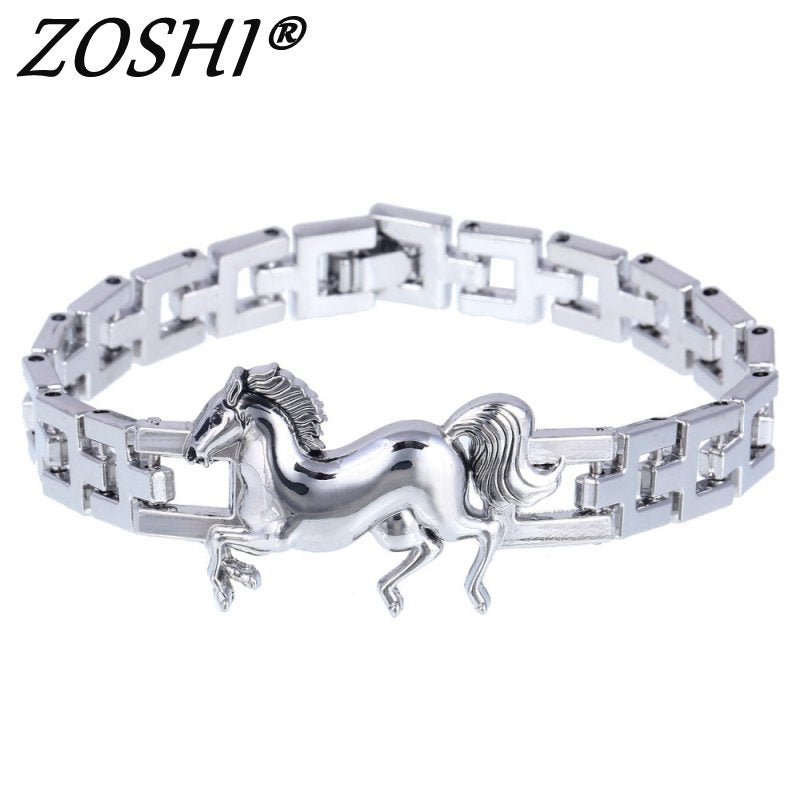 Fashion Punk Horse Stainless Steel Charm bracelet