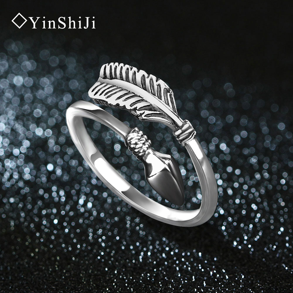 YinShiJi 100% 925 Sterling Silver Cupid Arrow Vintage Thai Silver Ring - Peanutbutter's Closet