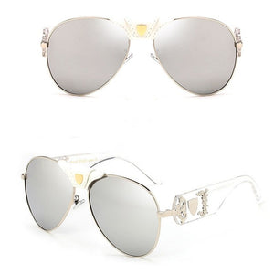2018 Luxury Designer Metal and Leather Unisex Mirror Sunglasses - Peanutbutter's Closet