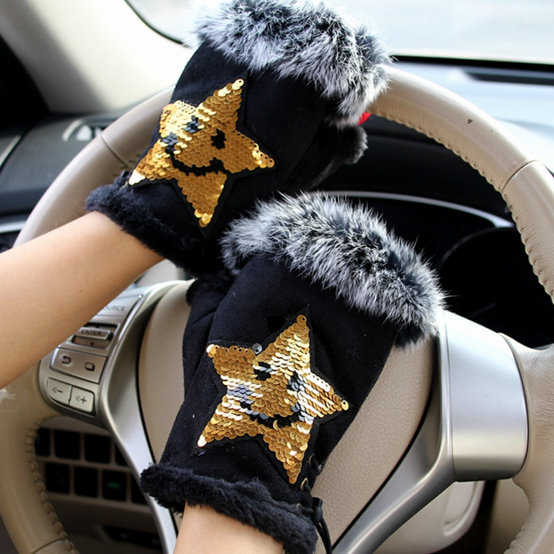 Faux Rabbit Fur Star Sequin Winter Gloves