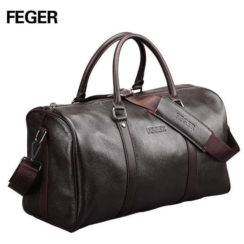 FEGER Extra Large Genuine Leather Weekend Duffel Bag