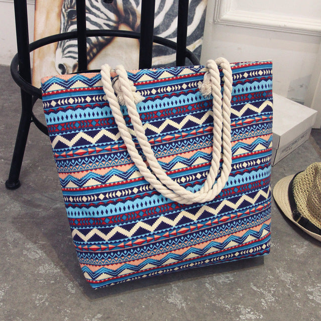 Canvas Bohemian Style Striped Shoulder Summer Bag