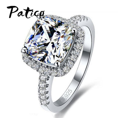 100% 925 Sterling Silver Cushion Cut Ring