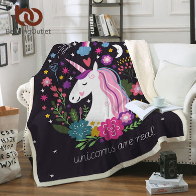Cartoon Unicorn Velvet Plush Throw Blanket