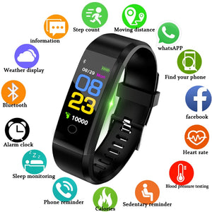 BANGWEI Heart Rate Monitor Blood Pressure Fitness Tracker Smartwatch for iOS and Android