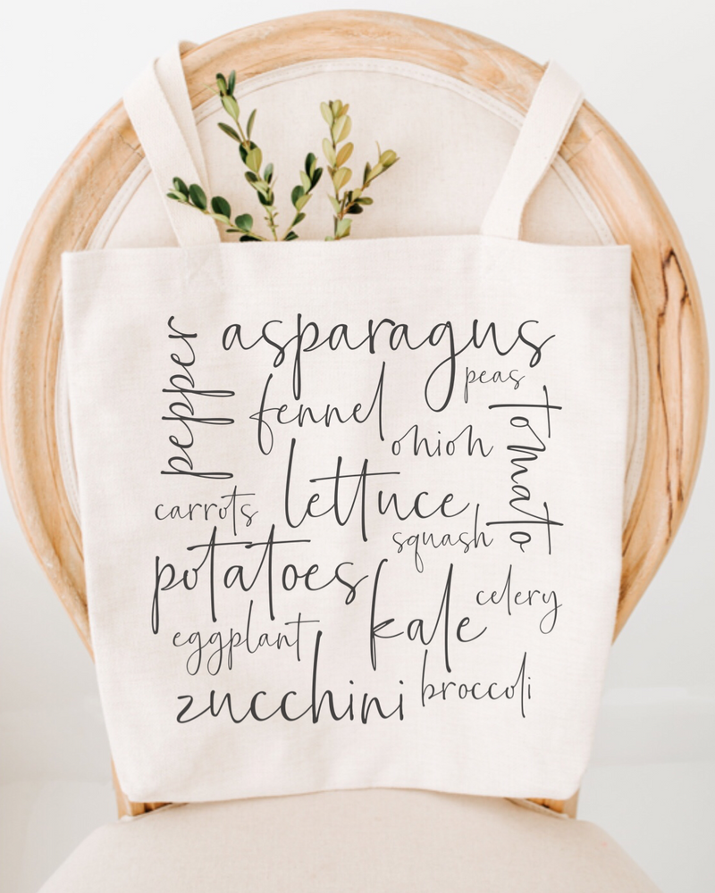 Farmers Market Veggies Cotton Tote Bag