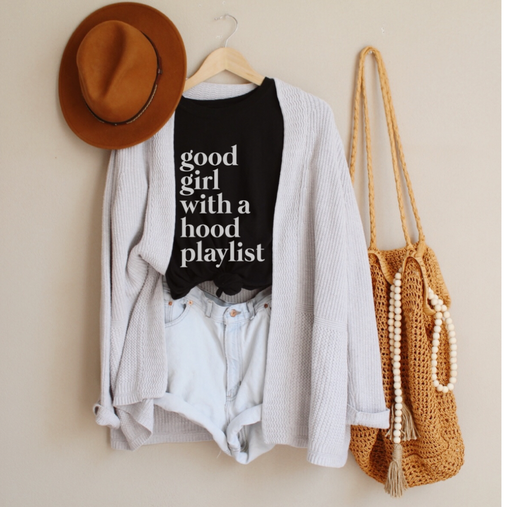 Good Girl With A Hood Playlist T-Shirt (White Letters) - More Color Options