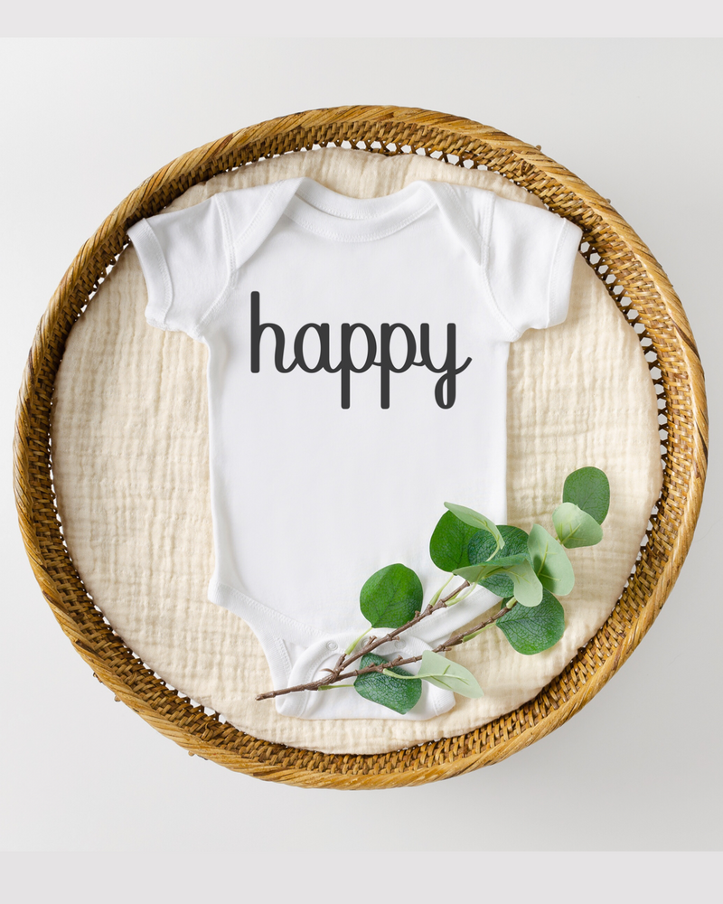 Happy Baby Bodysuit (Black Letters)