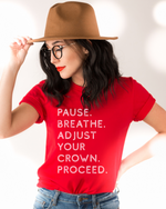 Pause. Breathe. Adjust. Unisex T-Shirt - Red