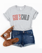 God's Child T-Shirt (Red and Black Letters) - More Color Options