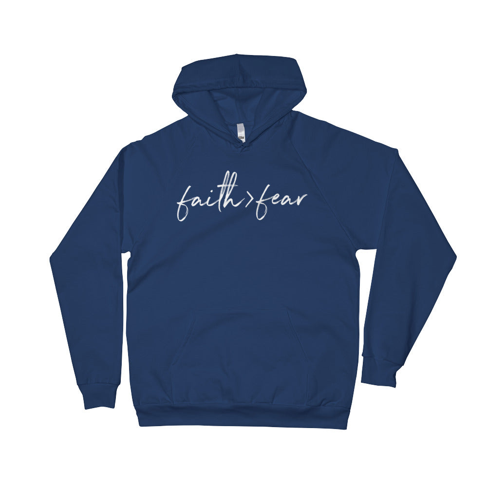 Faith Greater Than Fear - Fleece Hoodie (Navy Blue)
