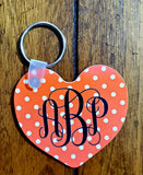 Personalized Gloss Heart Key Chain