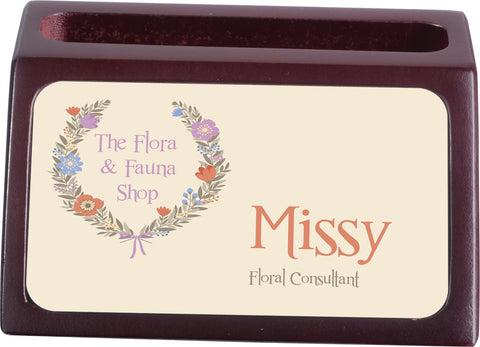 Personalized Mahogany Business Card Holder With Insert