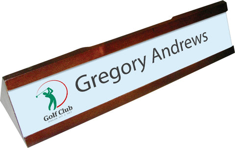 Personalized Mahogany Desk Plate Holder With Insert