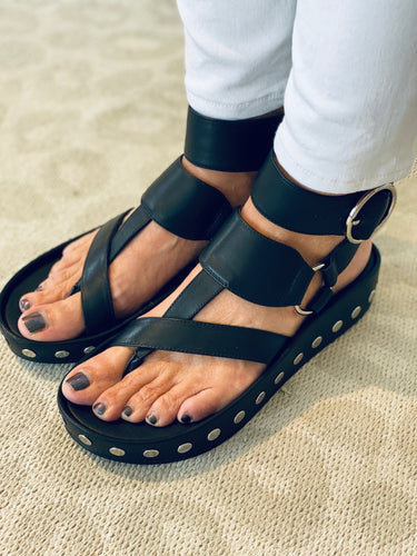 Black Leather Stud Sandal