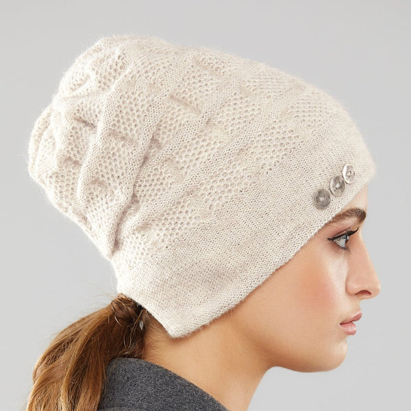 Rosseau split-back pony-tail toque by Olena Zylak