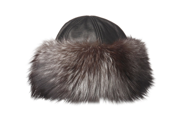 2-97599 black leather cloche with rabbit trim by Crown Cap